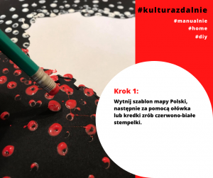 Wytnij szablon mapy Polski, następnie za pomocą ołówka lub kredki zrób czerwono-białe stempelki.