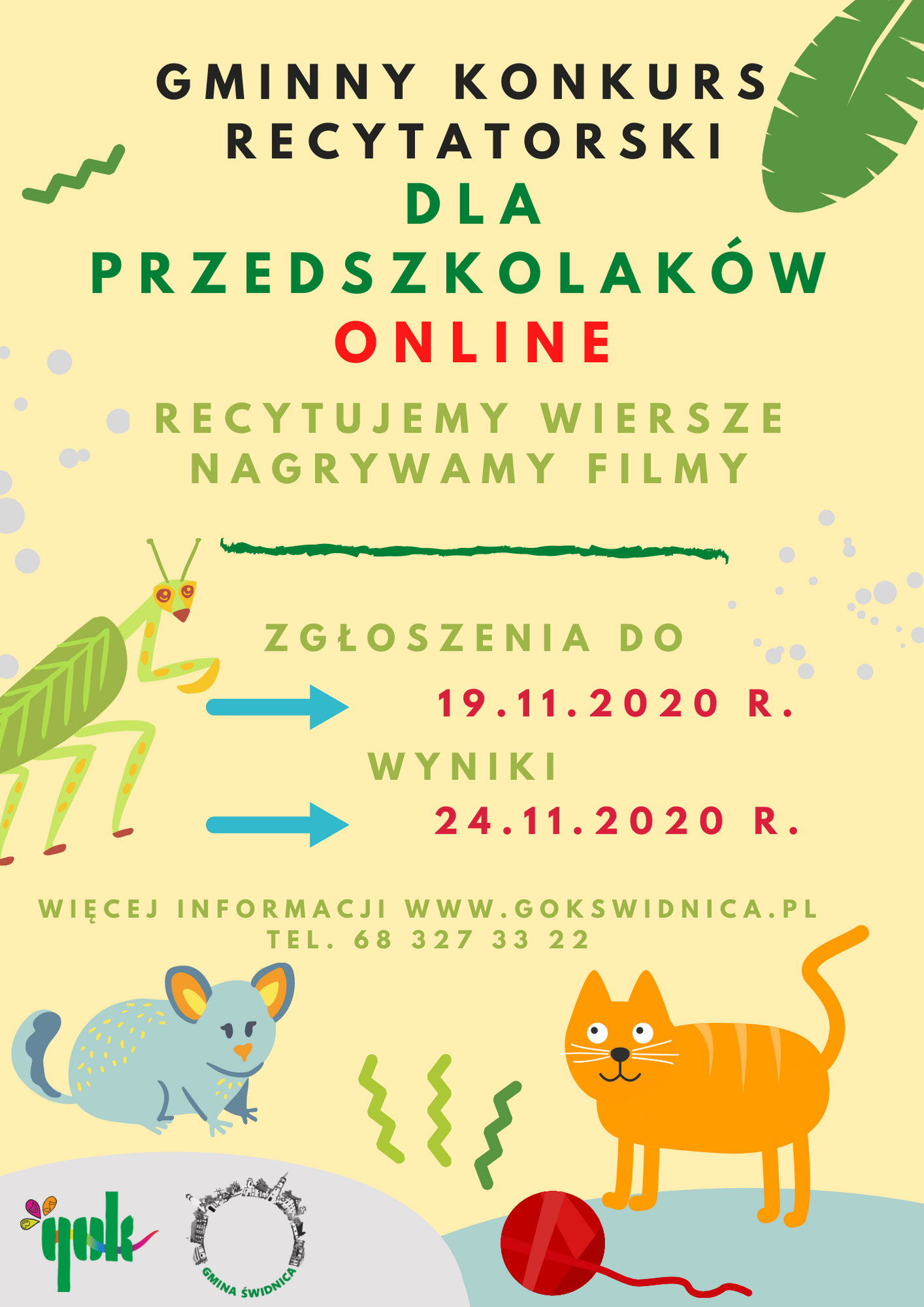 Gminny konkurs recytatorski dla przedszkolaków online. Recytujemy wiersze nagrywamy filmy. Zgłoszenia do 19 listopada 2020 roku, wyniki 24 listopada 2020 roku.