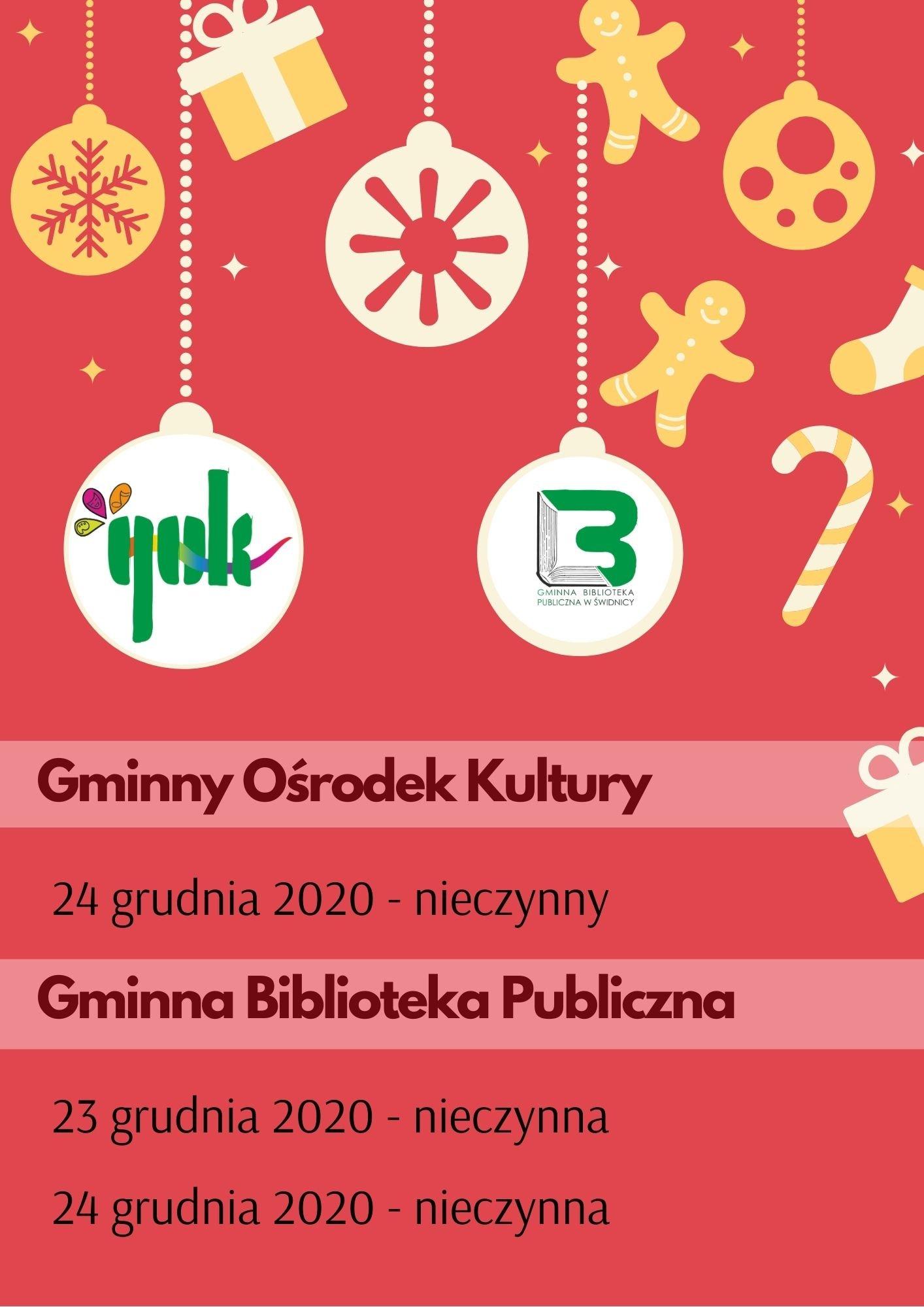 Gok nieczynny 24 grudnia a biblioteka 23 i 24 grudnia 2020