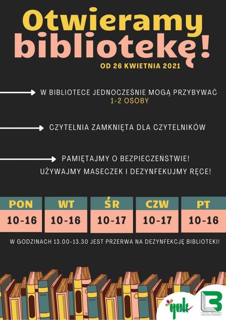 """Dzień dobry w poniedziałek! ❤ Mamy dla Was niespodziankę! Od dzisiaj otwieramy bibliotekę dla czytelników 🙂 Oczywiście zgodnie z zasadami: ✔️ w bibliotece mogą jednocześnie przybywać 1-2 osoby ✖️ czytelnia pozostaje zamknięta dla czytelników ✔️ można korzystać z usługi """"Książka na telefon"""" ✔️ można odbierać wyprawki czytelnicze dla przedszkolaków w ramach projektu """"Mała książka - wielki człowiek"""" ✔️ należy pamiętać o środkach bezpieczeństwa - maseczka i dezynfekcja rąk przed wejściem do biblioteki ⏰ Należy pamiętać, że w godzinach 13.00 - 13.30 odbywać się będzie przerwa na dezynfekcję 🙂 Do zobaczenia na Długiej 25 ❤"""